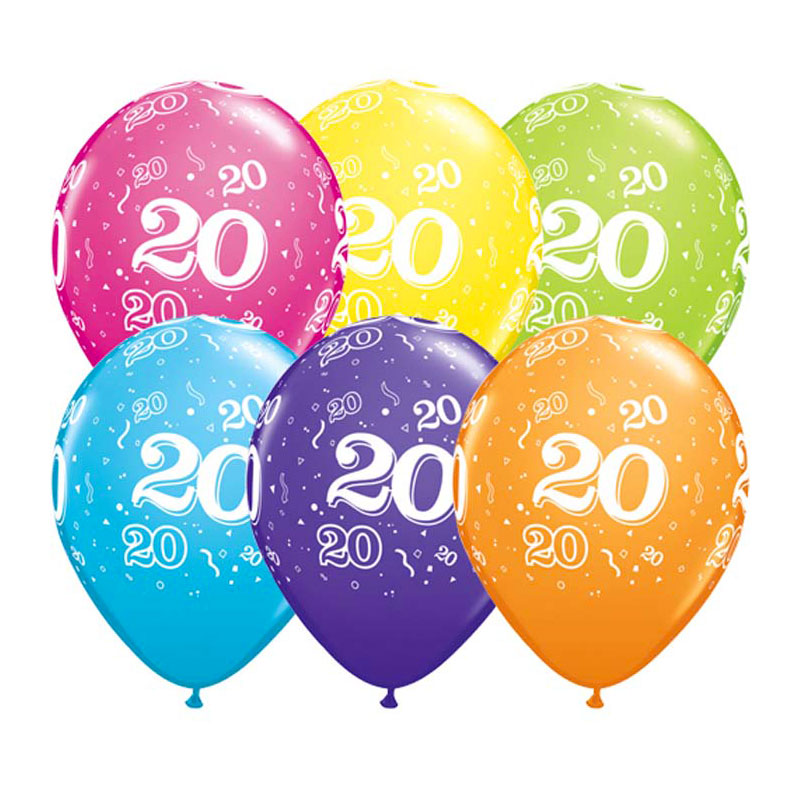 Ballon Qualatex 20 ans assortiment tropical