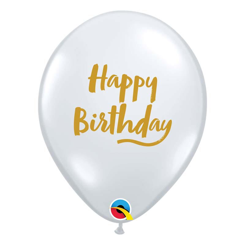 Ballon Happy Birthday Transparent et or