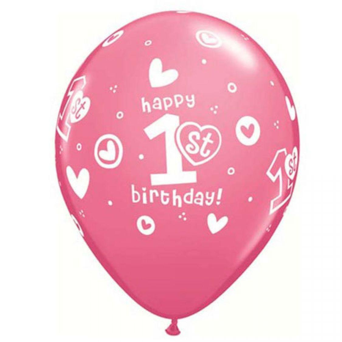 Ballon 1er anniversaire fille qualatex - Theme anniversaire 1 an fille ...