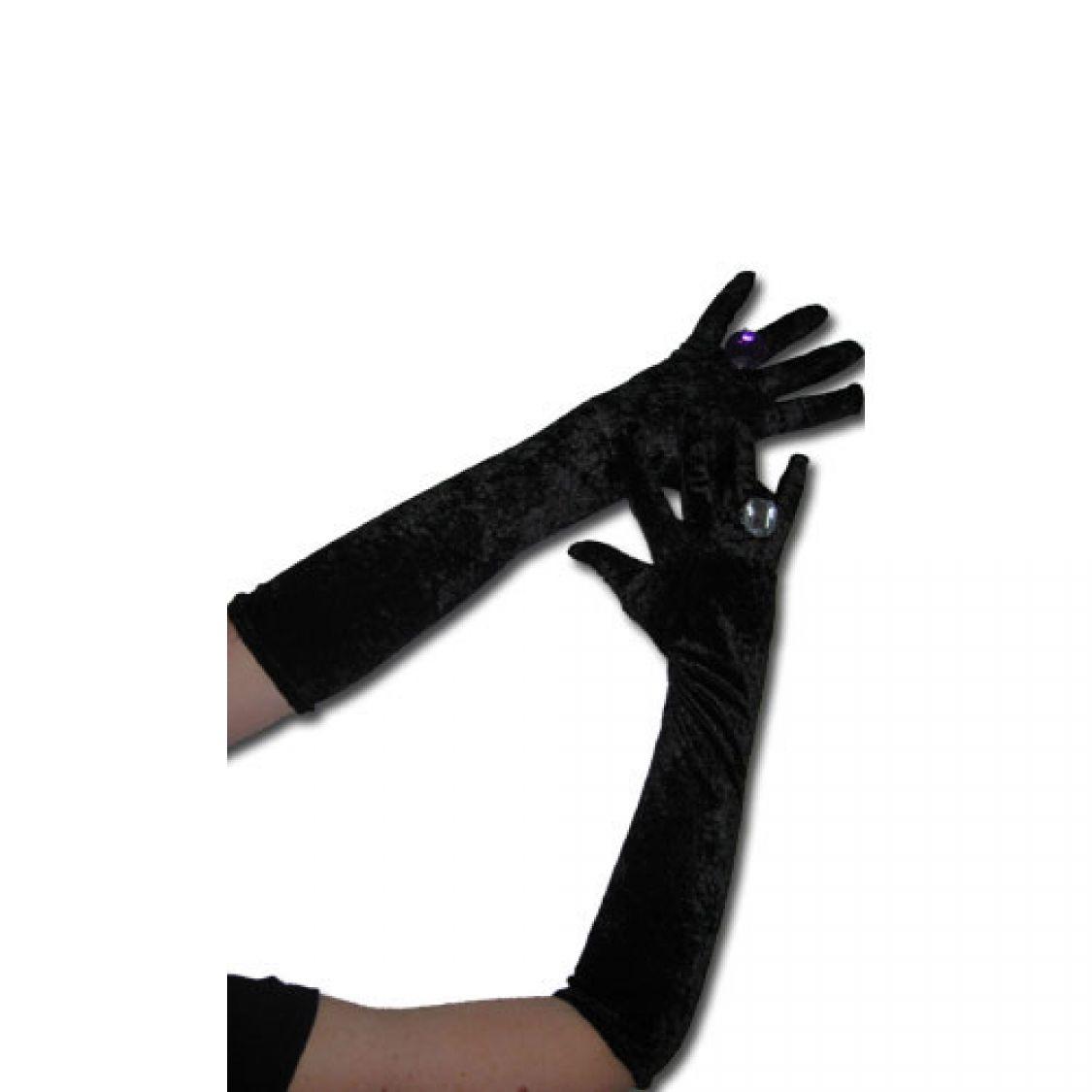 Gants longs noirs en velours