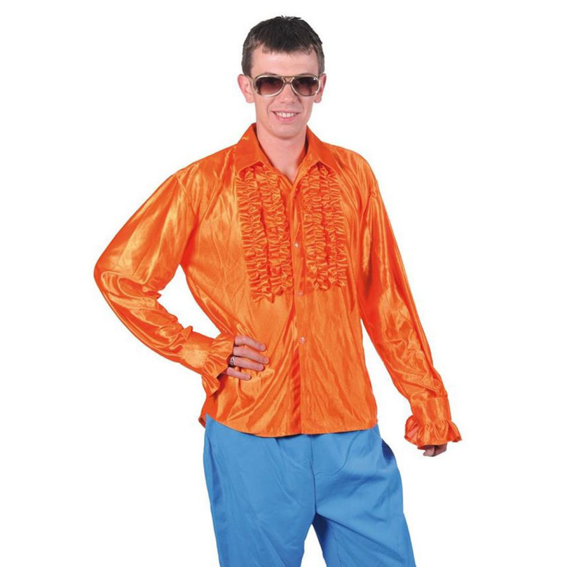 chemise disco homme frou frou orange. Black Bedroom Furniture Sets. Home Design Ideas