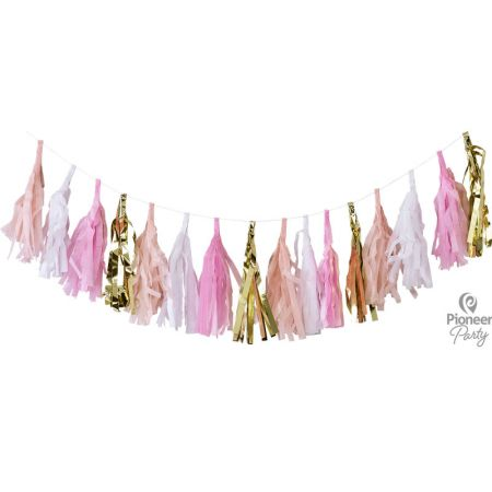 Guirlande Tassel Rose Blanc Or