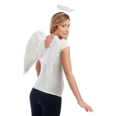 Ailes d'ange plumes 50cm Blanches