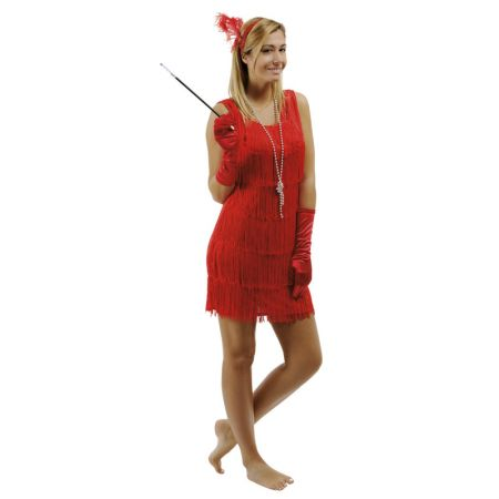 Déguisement Charleston femme robe rouge franges