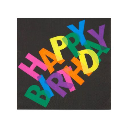 Serviette jetable Happy Birthday Black
