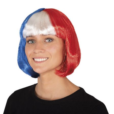 Perruque carré tricolore ''France''