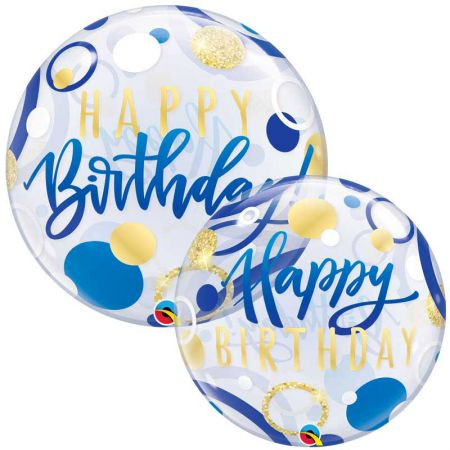 Ballon Bubble Birthday Dots Bleu