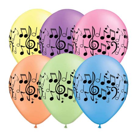 Ballon notes de musiques qualatex assortiment néon