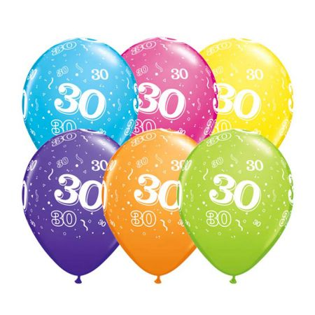 Ballon Qualatex 30 ans assortiment tropical