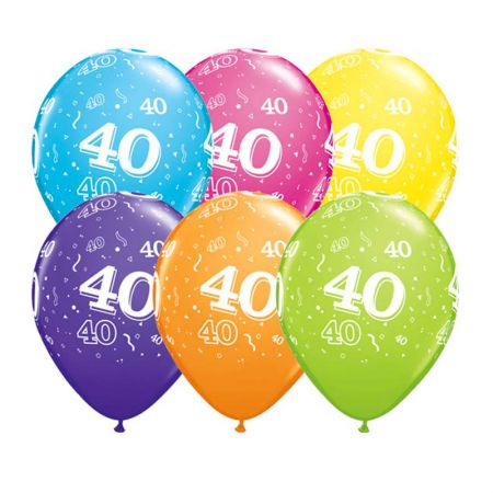 Ballon 40 ans qualatex assortiment tropical