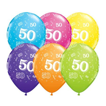 Ballon 50 ans qualatex assortiment tropical