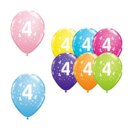 Ballon Qualatex 4 ans assortiment tropical