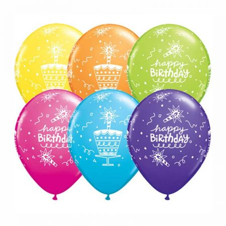 Ballon Happy Birthday bougies Qualatex Assortis