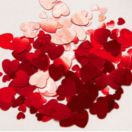Confettis de table coeur rouge (6 sachets)