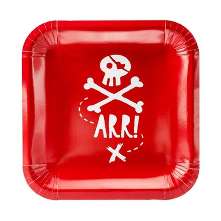Assiette Jetable Pirate Rouge par 6