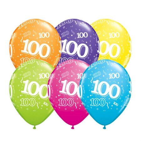 Ballon Qualatex 100 ans assortiment tropical