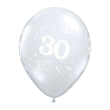 Ballon Qualatex 30 ans transparent (Diamond Clear)