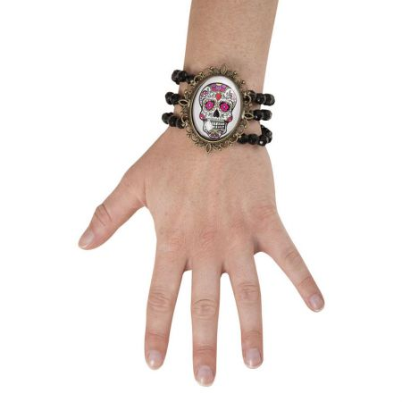 Bracelet médaillon Day of the Dead