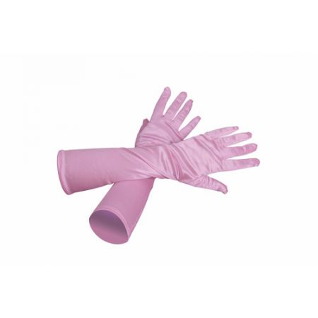 Gants longs rose pâle satiné