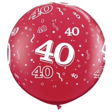 Ballon géant 40 ans qualatex rouge rubis