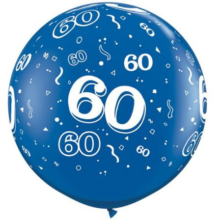 Ballon géants 60 ans qualatex bleu cristal