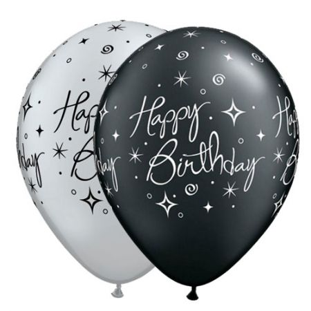Ballon Happy Birthday qualatex noir et argent