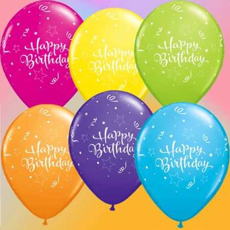 Ballon Happy Birthday étoile qualatex assortis tropical