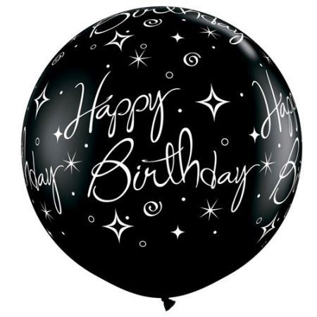 Ballon géant Happy Birthday qualatex noir et argent