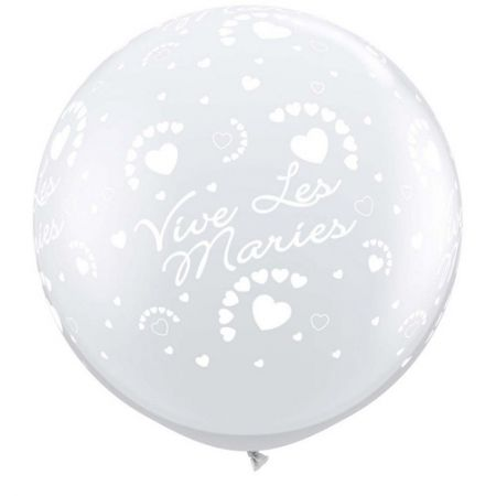 Ballon mariage géant coeur transparent qualatex