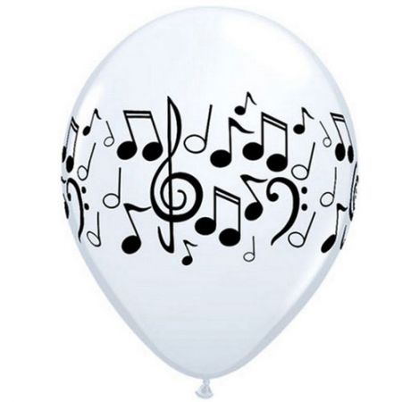 Ballon notes de musiques qualatex blanc