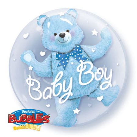 Ballon Double Bubble ourson baby boy