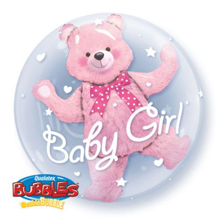Ballon Double Bubble ourson baby girl