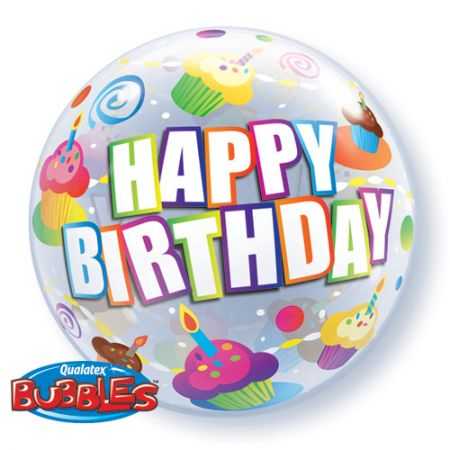 Ballon Bubble Happy Birthday cupcakes